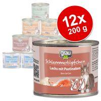 Lot Grau menu gourmand sans céréales 12 x 200 g pour chat