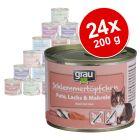 Lot Grau Menu gourmand sans céréales 24 x 200 g pour chat