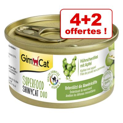 Lot mixte GimCat Superfood ShinyCat Duo 4 x 70 g + 2 offertes !