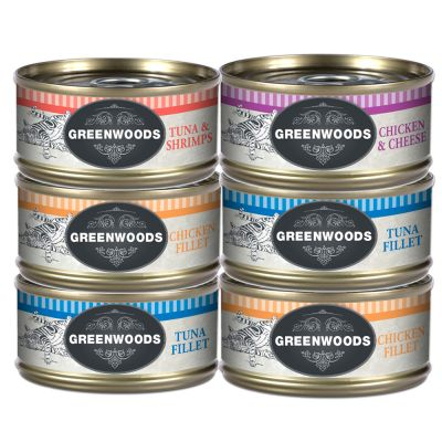 Lot mixte Greenwoods Adult 6 x 70 g pour chat