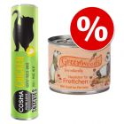 Lot pour furet : boîtes Greenwoods + friandises Cosma Snackies