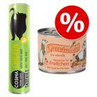 Lot pour furet : boîtes Greenwoods + friandises Cosma Snackies
