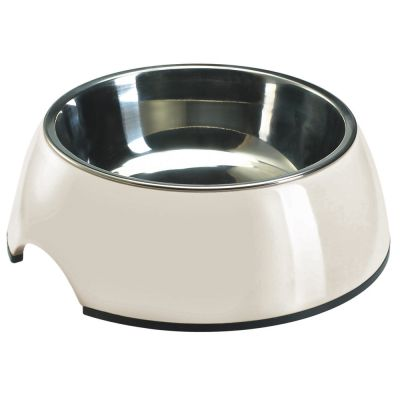Melamine Pet Bowl White with Stainless Steel Inlet