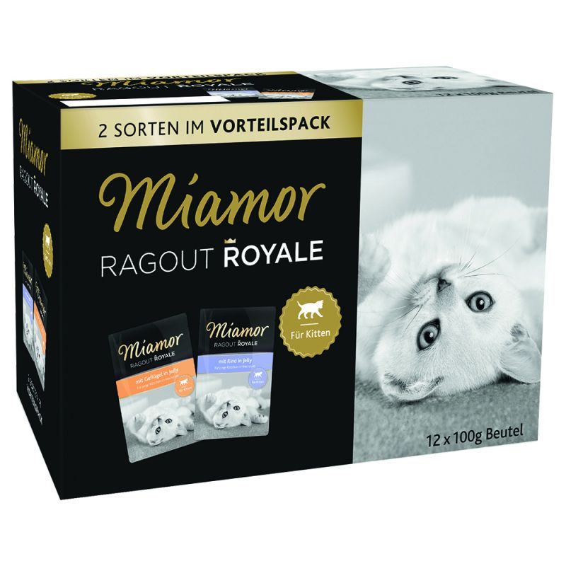 Miamor Ragú Royal Kitten en gelatina 12 x 100 g - Pack mixto