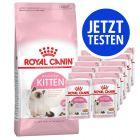 Mix-Probierpaket 400 g Royal Canin Kitten Trockenfutter + 12 x 85 g Pouch
