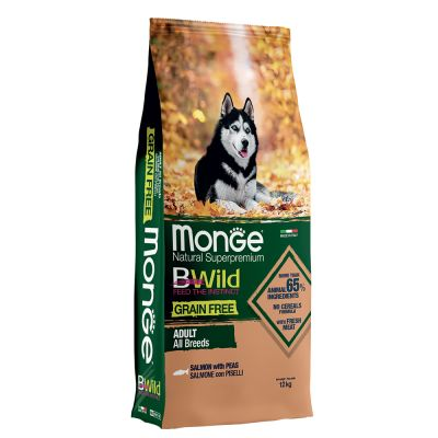 Monge Bwild Grain Free All Breeds Adult Salmone con Piselli