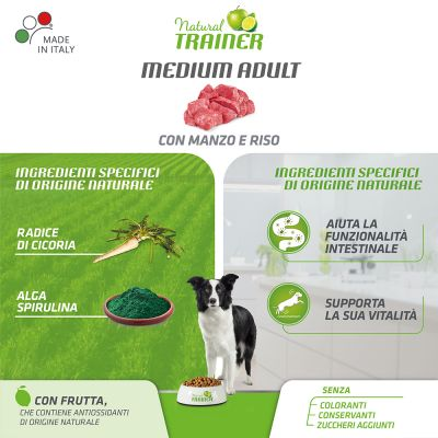 Natural Trainer Medium Adult con Manzo & Riso