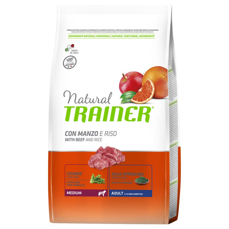 Natural Trainer Medium Adult Manzo & Riso