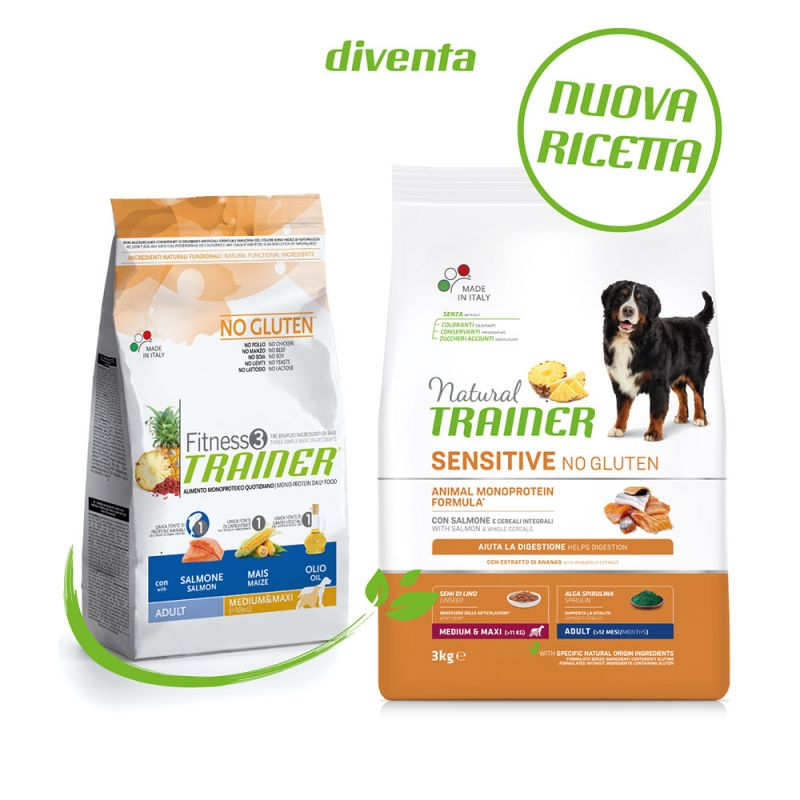 Natural Trainer Sensitive No Gluten Adult Medium/Maxi Salmone