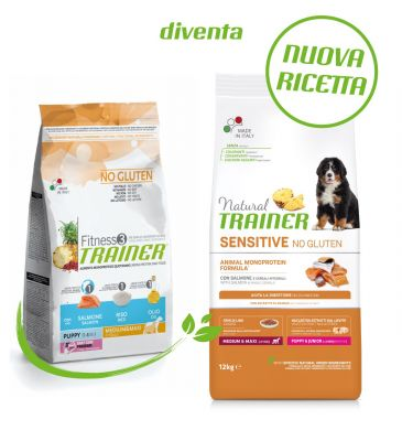 Natural Trainer Sensitive No Gluten Puppy & Junior Medium/Maxi con Salmone