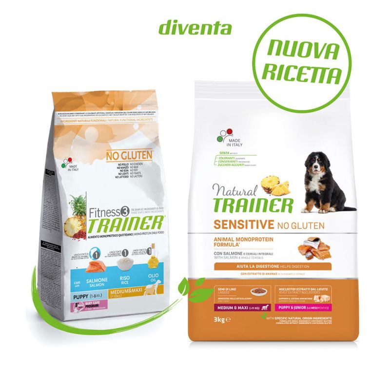 Natural Trainer Sensitive No Gluten Puppy & Junior Medium/Maxi Salmone