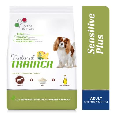 Natural Trainer Sensitive Plus Adult Small & Toy con Cavallo, riso e olio