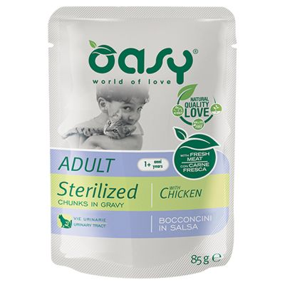 Oasy Adult Sterilised Bocconcini in Salsa Buste 24 x 85 g