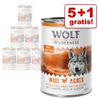 5 + 1 offert ! 6 x 400 g Boîtes Wolf of Wilderness