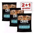 2 + 1 offert ! 3 x 750 g Croquettes Crave Adult pour chat 2,25g