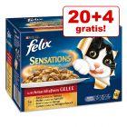 """20 + 4 offerts ! Pâtée Felix """"Sensations"""" 24 x 100 g"""