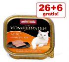 26 + 6 offerts ! 32 x 100 g Barquettes Animonda vom Feinsten
