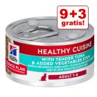 9 + 3 offerts ! 12 x 79 g Hill's Science Plan Adult Healthy Cuisine pour chat