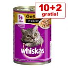 10 + 2 offerts ! 12 x 400 g Whiskas 1+ pour chat