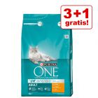 3 + 1 offerts ! 4 x 3 kg Croquettes PURINA ONE pour chat
