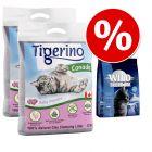 Offre d'essai : 2 x 12 kg de litière Tigerino Canada senteur talc + 400 g de croquettes Wild Freedom