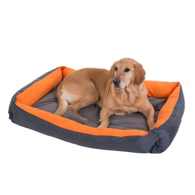 Outdoor Dog Bed 2-in-1 – Grey & Orange