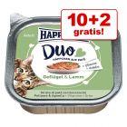 10 + 2 på köpet! Happy Cat Duo - Bitar med paté 12 x 100 g