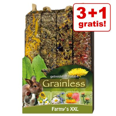 3 + 1 på köpet! 4 x 450 g JR Farm Farmy's Grainless XXL gnagarsnacks