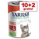 10 + 2 på köpet! 12 x 400 / 405 g Yarrah Organic våtfoder katt