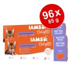 Pachet jumbo IAMS Delights Adult Land & Sea 96 x 85 g