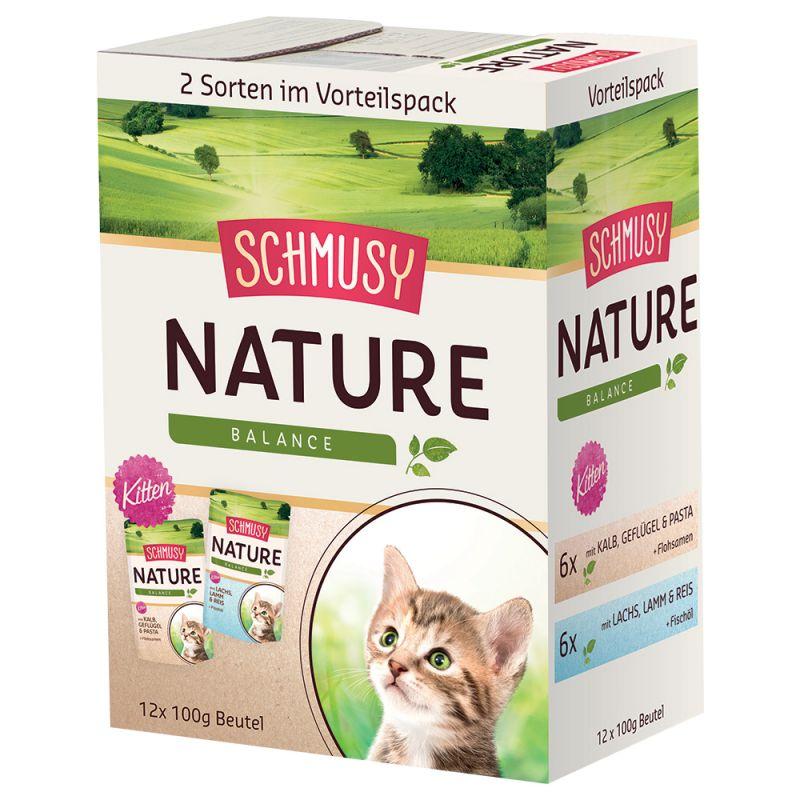 Pachet asortat economic Schmusy Nature Balance Kitten 12 x 100 g