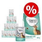 Pack bi-nutrition Concept for Life : 400 g de croquettes + 12 x 85 g sachets fraîcheur pour chat