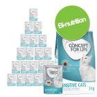 Pack bi-nutrition Concept for Life : 3 kg de croquettes + 24 x 85 g de sachets fraîcheur pour chat