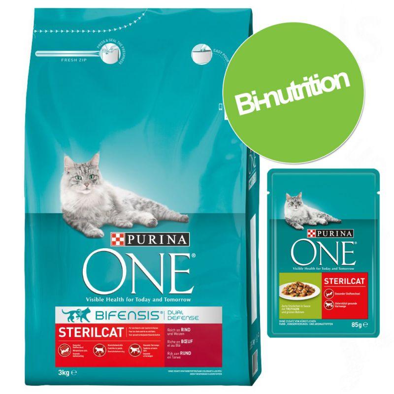 Pack bi-nutrition : croquettes + 12 x 85 g de sachets PURINA ONE
