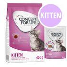 Pack de inicio Kitten: 400 g Concept for Life pienso + 12 x 85 g sobres