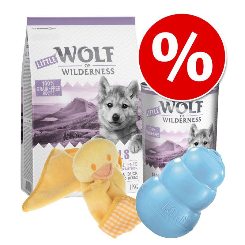 Pack de inicio Wolf of Wilderness pienso sin cereales para cachorros