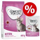Pack de prova Kitten: 400 g Concept for Life ração + 12 x 85 g comida húmida