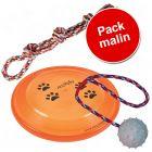 Pack malin : 1 balle avec corde, 1 frisbee Trixie, 1 corde double