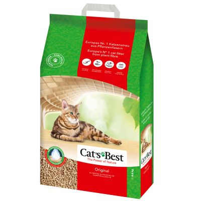 Pack malin : 20 L de litière Cat's Best Öko Plus / Original + sachets Felix Tendres Effilés en gelée