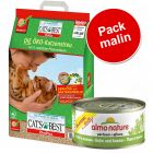 Pack malin : 20 L de litière Cat's Best Öko Plus + 48 x 70 g de Almo Nature