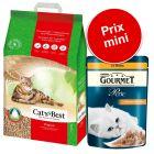 Pack malin : 20 L de litière Cat's Best Original + sachets Gourmet Perle, lamelles de poulet
