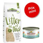 Pack malin : 30 L de litière Greenwoods en fibres végétales + 48 x 70 g de Almo Nature