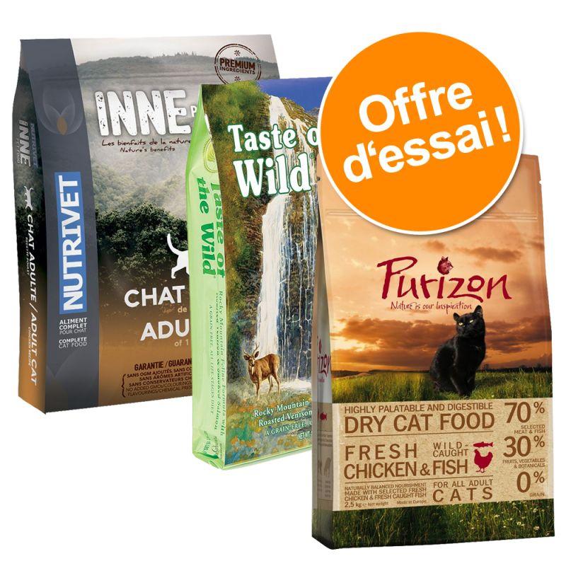 Pack Sans céréales : croquettes Purizon + Nutrivet + Taste of the Wild pour chat