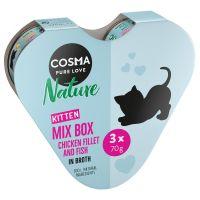 Pakiet Cosma Nature Kitten w kształcie serca, 3 x 70 g