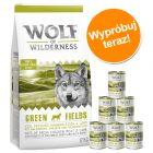 Pakiet próbny Wolf of Wilderness, karma sucha i mokra, 12 kg + 6 x 400 g