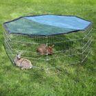 Parque octogonal Kerbl con parasol para conejos y hurones