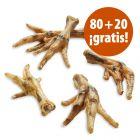 Patas de pollo 100 unidades snacks para perros en oferta: 80 + 20 ¡gratis!