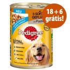 Pedigree comida húmida 24 x 400 g em promoção: 18 + 6 latas grátis!