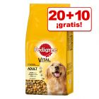 Pedigree pienso para perros 2 x 13 / 2 x 15 kg ¡hasta 10 kg gratis!