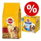 Pedigree ração 13 kg/15 kg + 56 uds. Dentastix cães de porte médio a preço especial!
